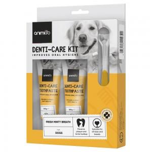 Denti-Care Kit - Spiselig Tandpasta og tilbehør til Daglig Brug til Hunde og Katte - Animigo - 2x 100 g Tuber