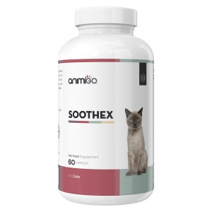 Soothex for Cats - Natural Calming Supplement for Stressed & Anxious Cats - 60 Capsules - Animigo